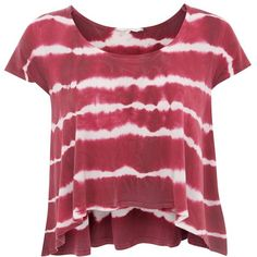 Pink and White Stripe Tie Dye Top ($20) ❤ liked on Polyvore