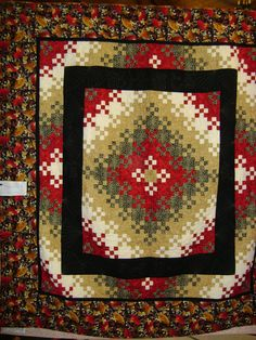 Blooming nine patch with blocks set off with large inner border.  A quilt show photo by Linda at catsnqlts2.blogspot.com