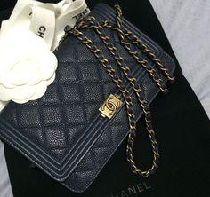 Chanel midnight blue caviar boy woc with matte gold hw