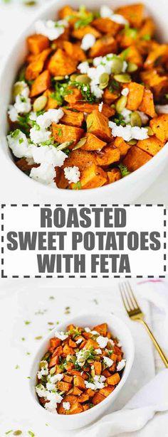 Roasted sweet potato with feta Roasted Vegetable Recipes, Veggie Recipes, Vegetarian Recipes, Cooking Recipes, Healthy Recipes, Savory Sweet Potato Recipes, Sweet Potato Risotto, Healthy Mummy, Healthy Food