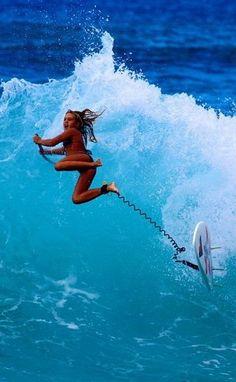 Flying surfer girl ...