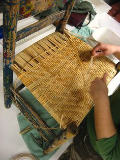 Chair-caning class at Slater Mill. For more information on classes, visit sl. Chair Repair, Furniture Repair, Furniture Projects, Furniture Makeover, Diy Furniture, Diy Projects, Handmade Furniture, Home Crafts, Diy And Crafts