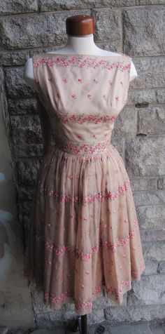1950's Embroidered Prom Dress // Nude by magicphoenixvintage