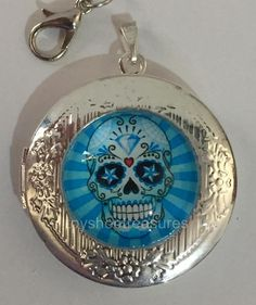 New Vintage Style Blue Sugar Skull Day of the Dead Locket Necklace - Silver  bf