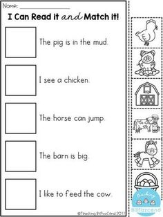 Give your child a boost using our free, printable Preschool reading worksheets. These preschool reading worksheets will get your little one ready for kindergarten. Help your kid get a leg up on reading with our preschool reading printables. Picture Comprehension, Reading Comprehension Activities, Reading Worksheets, Teaching Reading, Free Reading, Guided Reading, Esl Learning, Early Reading, Reading Art