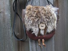 Leather Viking Purse, Fur Leather Bag, Pouch - Medieval, Renaissance, SCA - Dark Brown with Rabbit Fur