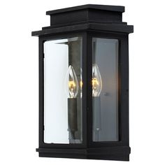 $170 Fremont Black Two Light 16.5 Inch High Outdoor Wall Sconce Wall Mounted Outdoor Outdoor