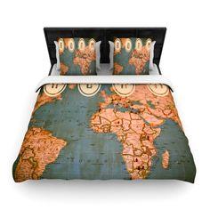 """Ann Barnes """"Roam II"""" World Map Woven Duvet Cover from KESS InHouse #roam #travel #vintage #maps"""
