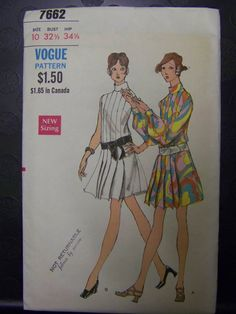 MOD 1960s Vogue 7662 One-piece Dress Pattern sz 10 bust 32 1/2 COMPLETE by RaggsPatternStash on Etsy