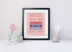 Music was my first Love - Digital Typography Posterprintable poster for music lovers, retro poster with music cassette, gift for music fan Pink Music, Typography Poster, No One Loves Me, Music Lovers, Digital Image, Dreaming Of You, First Love, Thats Not My, Dreams