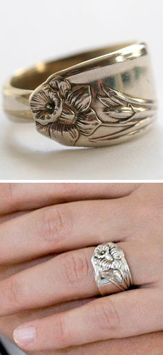 Daffodil spoon ring.  This reminds me of my husband's and my wedding rings, simple gold bands with a vine of flowers on them.  Now though, they are just plain gold with soft raises of a lost design: 41 years of life/love/growing happening together.  ak