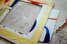 Screenprint without a traditional screen frame or emulsion. Uses Mod podge