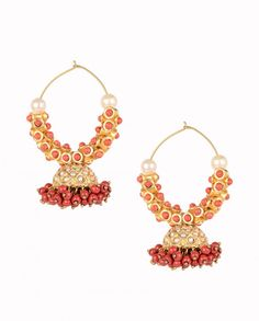 Hoop Style Jhumka Earrings with Coral Beads by Anjali Jain Shop Now: http://goo.gl/8ixo8z #Gold #Earrings #Multicolour #Ethnic #Bling #India #Fashion #Jewelry #Indian #Designer #Jewellery #Multicolor #Desi #SemiPrecious #Stones #Kundan #Beads #Meenakari #Jhumka #Pearl #Traditional #Coral