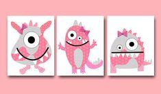 Monsters Nursery Baby Girl Nursery Decor Children Art Print Baby Nursery Print…