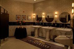 Ladies restrooms, Carlyle Club, Alexandria, VA #bradburywallpaper