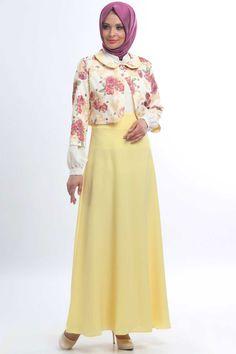 İpekdal - Ceketli Sarı Elbise #tesettur #hijab