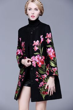 Sleeve Round Neck Buttons Duffle Coats - Floryday @ , Long Sleeve Round Neck Buttons Duffle Coats - Floryday @ , Long Sleeve Round Neck Buttons Duffle Coats - Floryday @ , Button Up Embroidered Coat - BLACK M Louis Vuitton Spring/Summer 2018 Ready To Wear Floral Fashion, Boho Fashion, Winter Fashion, Womens Fashion, Embroidery Fashion, Embroidery Dress, Hijab Fashion, Fashion Dresses, Moda Floral
