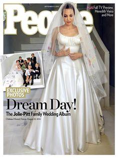 Angelina Jolies Hochzeitskleid mit Zeichnungen von ihren Kindern