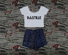 Bastille Crop Top Ladies Short Sleeve Stretch T por finteetank, $15.00