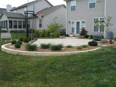 Backyard Basketball Court and landscaping idea Good because it is a patio...then drop in hoop, or tot pool,or three wheeler, Little Tykes ...
