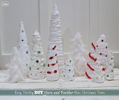 Easy Thrifty DIY Yarn and Feather Mini Christmas Trees