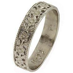 Vintage Style Flower 14k White Gold Wedding Band Ring $338.00 USD