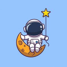Astronaut Cartoon, Astronaut Drawing, Astronaut Illustration, Star Illustration, Space Drawings, Cute Drawings, Moon Cartoon, Astronaut Wallpaper, Site Logo