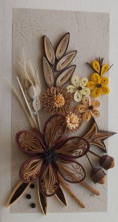 neli: Quilling card-autumn flowers