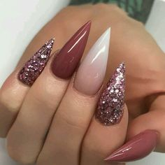 "If you're unfamiliar with nail trends and you hear the words ""coffin nails,"" what comes to mind? It's not nails with coffins drawn on them. It's long nails with a square tip, and the look has. Gradient Nails, Glitter Nails, Fun Nails, Stelleto Nails, Nail Bling, Stiletto Nail Art, Acrylic Nail Art, Stiletto Nail Designs, Coffin Nails"