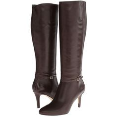 Cole Haan Garner Tall Boot Women's Zip Boots, Brown ($165) ❤ liked on Polyvore featuring shoes, boots, brown, knee-high boots, tall boots, side zip boots, leather boots, brown boots and high heel boots