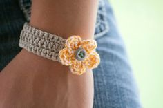 Hand Crocheted Simple Gray Bracelet -- super cute, easy and quick