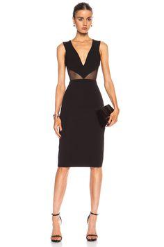 Cushnie et Ochs Power Viscose-Blend Dress with Mesh Cutouts in Black | FWRD [1]