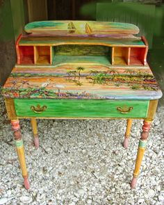 Painted Furniture: Sunset desk.