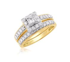 Latest Design of Wedding Rings with Custom Halo Princess Cut Diamond Bridal Set - http://www.mybridalring.com/Rings/haloed-princess-cut-diamond-bridal-set-in-14k-yellow-gold/
