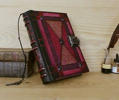 """Blazing Dreams"" - Leather Journal with Lock and Key, Red Leather Leather Bound Journal, Leather Bound Books, Journal With Lock, Bujo, The Time Machine, Steampunk Design, Cool Books, Magic Book, Journaling"