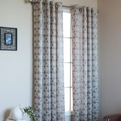 Give any room in your house a beautiful, and contemporary look the Mayan Grommet Top panel by Commonwealth, featuring a circle design in rich, two tone shades Rod Pocket Curtains, Grommet Curtains, Window Curtains, Custom Drapes, House Windows, Panel Bed, Fabric Panels, Contemporary Style, Room Decor