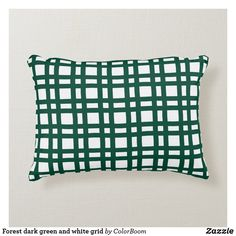 Forest dark green and white grid accent pillow Soft Pillows, Accent Pillows, Throw Pillows, Green Cushions, Green Home Decor, Soft Fabrics, Grid, Pine, Dark