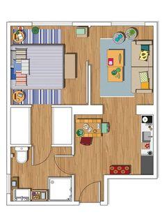 Plans de petit appartement de 40m2 pour une personne seule for Progetti ville minimaliste