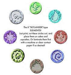 Skylanders Printable, the 8 Elements. See also the Skylanders Birthday Cake DIY: summeroffunner.com