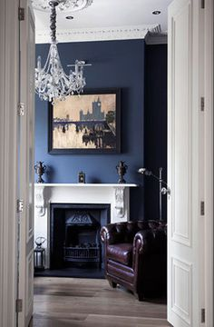 Victorian Home Office & Library. White fire surround with ornate corbels… Brown And Blue Living Room, My Living Room, Living Room Decor, Blue Rooms, Blue Walls, Blue Bedroom, White Fire Surround, Painted Fire Surround, Traditional Home Offices