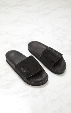 956775a8501752 Black Diamante Embellished Slider Holiday Shoes