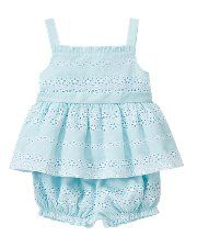 """Eyelet lace and baby blue. Pair it with a sweet little flower hair clip. Our favorite is the Gina flower in """"Mint Ice"""", from Bitty Bows Boutique. http://www.bittybowsboutique.com/gina-flower-clip.html"""
