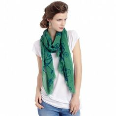 Wear a messy bun with a simple scarf and denim - I love this look.