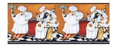 York Wallcoverings BG1680BD Chef's A-Cookin' Border by York Wallcoverings. Save 68 Off!. $13.07. From the Manufacturer                A bevy of whimsical Italian chefs bring bread, wine and pasta to the table in this distinctive 9 border of orange, black and white. European flair and contemporary images make this bistro a true delight to the designer palette!.                                    Product Description                A bevy of whimsical Italian chefs bring bread, wine and...