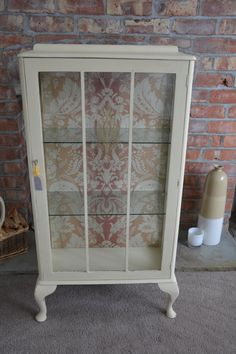 Glass display cabinet hand painted using Annie Sloan Cream