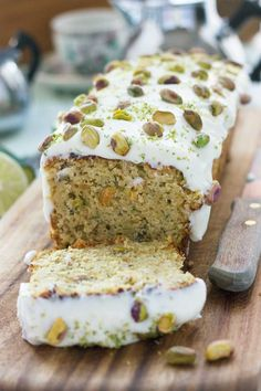 pistachio, lime & zucchini loaf - If you don't really 'do' cakes (like me!) give a loaf cake a go – they're just so easy. Zucchini Desserts, Zucchini Loaf, Delicious Desserts, Yummy Food, Loaf Cake, Baking Recipes, Dessert Recipes, Snacks Recipes, Meal Recipes