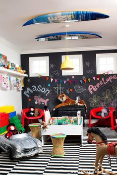 Cool playroom ideas: Paint a giant floor-to-ceiling chalkboard wall and embellish with pops of color. (We can't believe this is a Kardashian room either.)