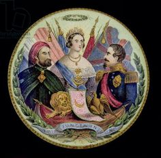 size: Giclee Print: Porcelain Pot Lid Depicting Queen Victoria, Napoleon III and Abdul-Ul-Mejid, Sultan of Turkey : Queen Victoria, Historical Women, Historical Pictures, Asian History, British History, Leighton House Museum, Post Mortem Photography, Strange History, France
