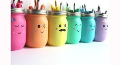 "You'll put a big smile on your kids' faces with these Kawaii Inspired DIY Painted Mason Jars. Kawaii is the Japanese term for ""cute"" or ""charming,"" and it's all too fitting for this easy mason jar craft! Kids Crafts, Diy And Crafts, Craft Projects, Easy Crafts, Pot Mason Diy, Mason Jar Crafts, Diys With Mason Jars, Bottle Crafts, Coffee Jar Crafts"