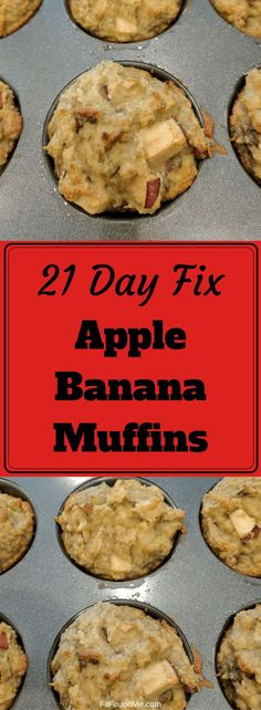 21 day fix approved fall comfort or anytime apple banana muffins! Using almond flour and other healthy ingredients. 21 Day Fix Desserts, Low Calorie Desserts, Clean Eating Desserts, Baking Desserts, Cake Baking, Apple Banana Muffins, Healthy Banana Muffins, Banana Snacks, Banana Nut